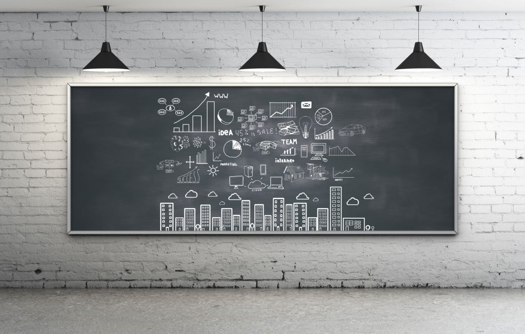 Blackboard with icons representing different marketing tactics