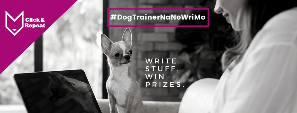 DogTrainerNaNoWriMo Banner featuring woman blog writing with her dog watching her