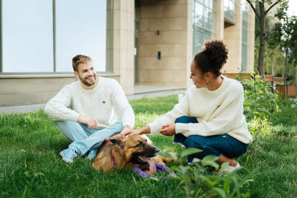 couple with dog sitting on grass; article about marketing to make money for dog trainers