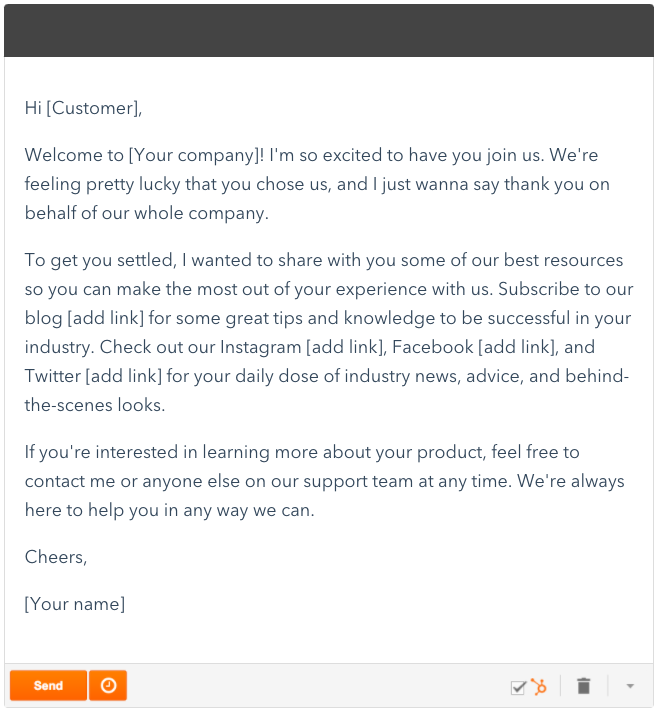 email template for email newsletter onboarding